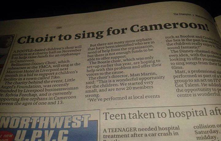 Newspaper - Choir to sing for Cameroon